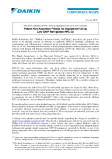 Patent Non-Assertion Pledge for Equipment Using Low GWP Refrigerant HFC-32