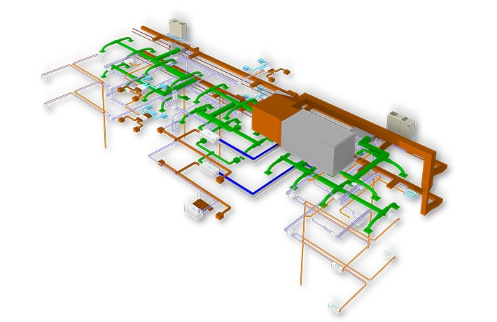 3D model that features valuable information about the building's specifications, such as building dimensions, electrical wiring and plumbing